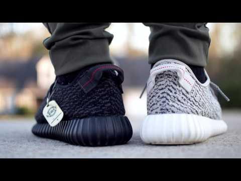 Comparison: Adidas Yeezy Boost 350 - Turtle Dove vs. Pirate Black