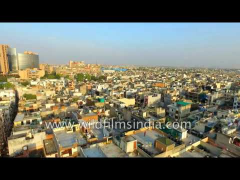 Flying over East Delhi's Laxminagar - crowded residential and new commercial district