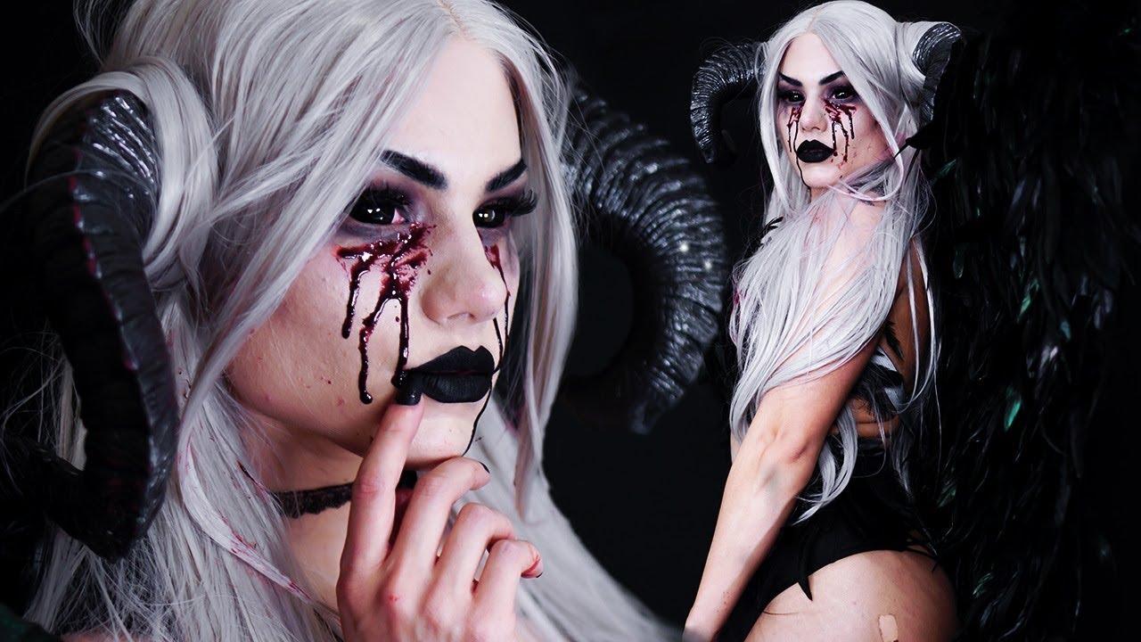 Demon Halloween Costume Ideas.Demon Halloween Costume Diy Wings Makeup Tutorial Youtube