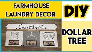 DOLLAR TREE DIY |FARMHOUSE DOLLAR  TREE DECOR|LAUNDRY DECOR