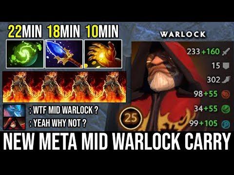 NEW Meta Mid Warlock Carry Vs Pro Leshrac | WTF 22min Refresher Orb + Scepter = 4x Golem DotA 2