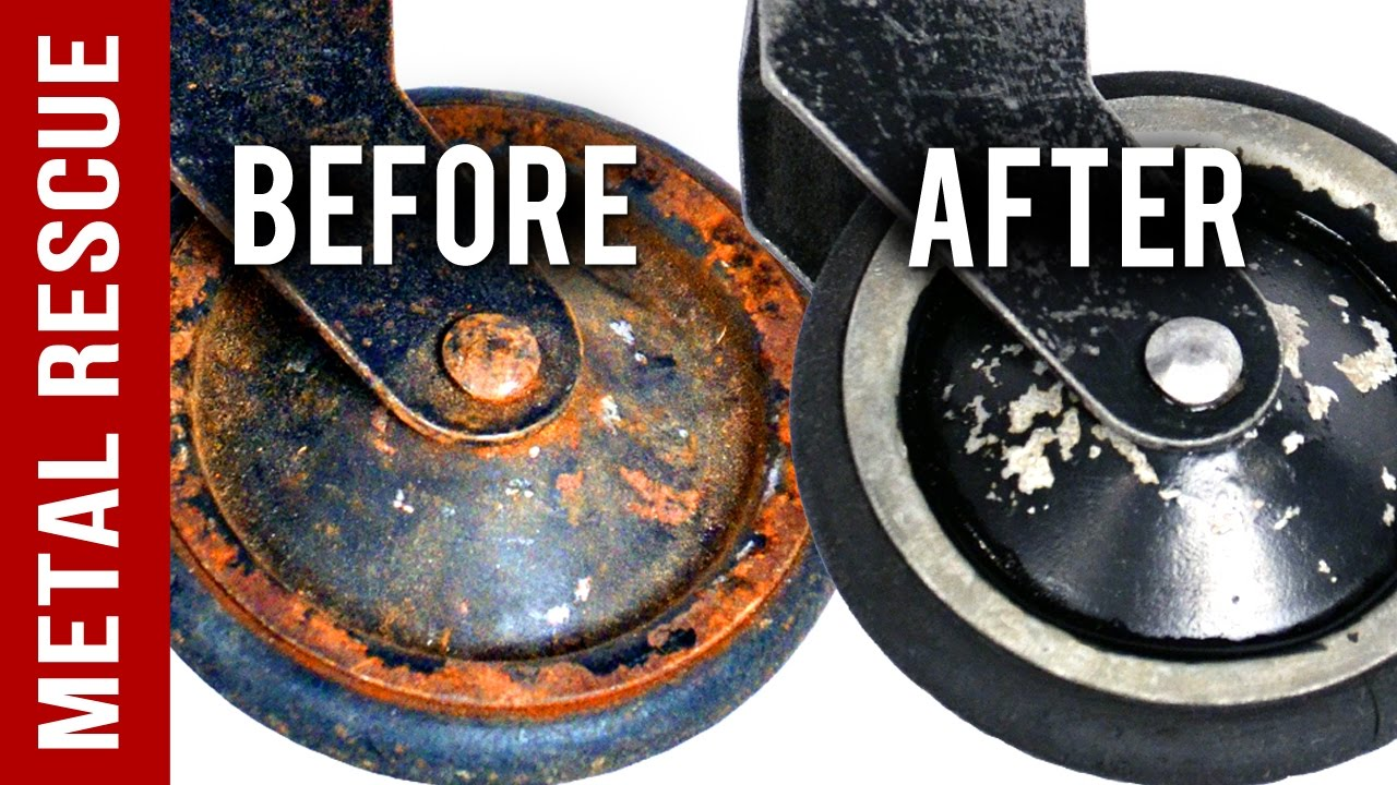 remove rust from metal castor wheels metal rescue rust remover bath youtube. Black Bedroom Furniture Sets. Home Design Ideas