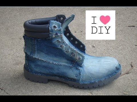 DIY ~ How to Add Denim To Timberland Boots  – Part 2
