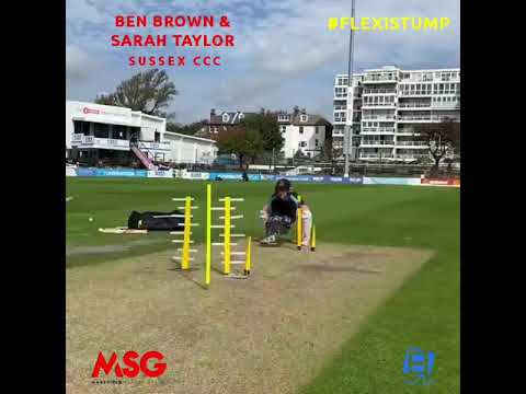 Sussex CCC Sara Taylor and Ben Brown with the FlexStump