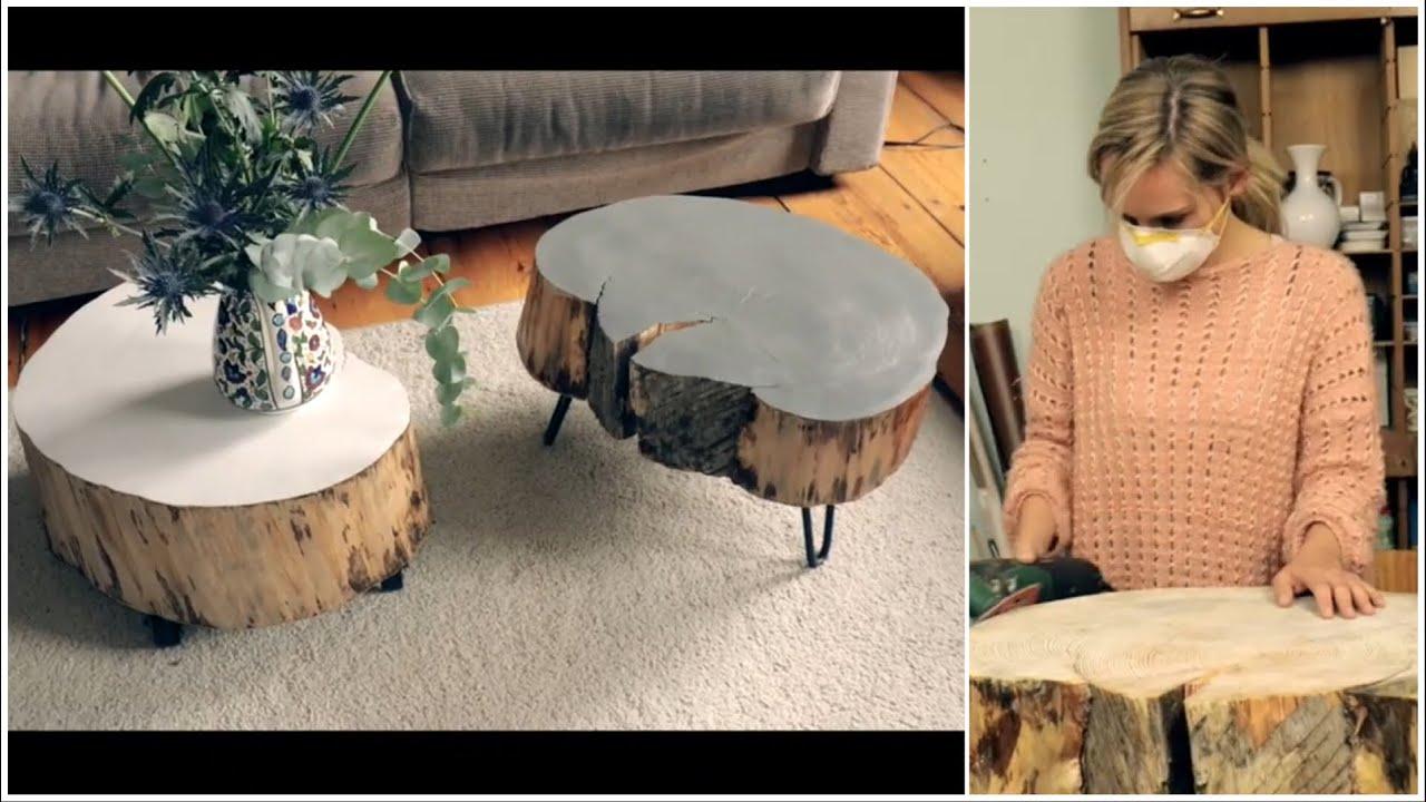 tisch aus baumscheibe selber machen - youtube