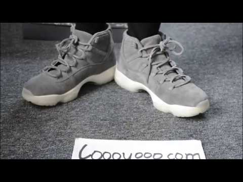 959742fc5694 Air Jordan 11 Grey Suede in box + on feet - YouTube