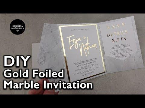 Modern Gold Foil Marble Pocketfold Invitation   Wedding Invitations DIY   Heidi Swapp Minc