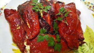 Запеченный болгарский перец с творогом./Очень вкусный/