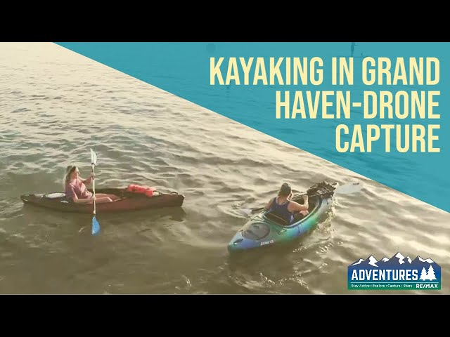 Kayaking in Grand Haven-Sunset-Drone Footage