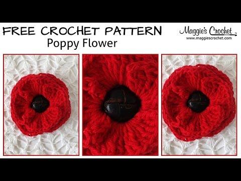 Button Poppy Free Crochet Pattern – Right Handed