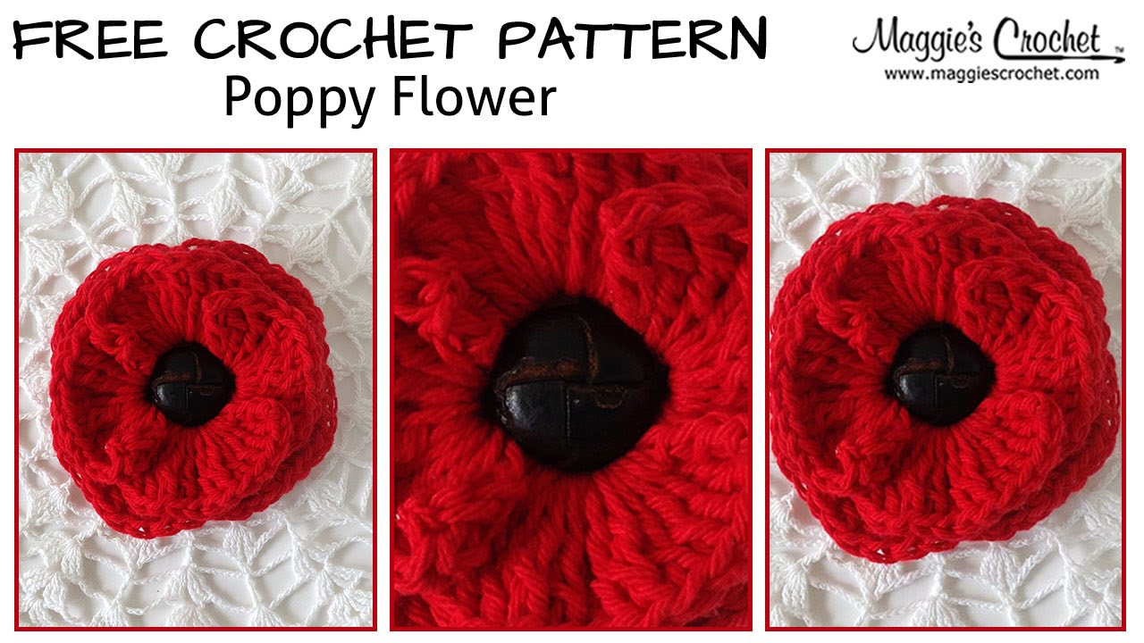 Button Poppy Free Crochet Pattern - Right Handed - YouTube