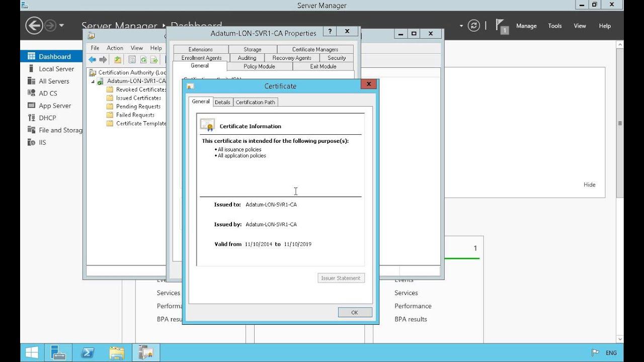 Properties Of Certificate Authority In Windows Server 2012 Youtube