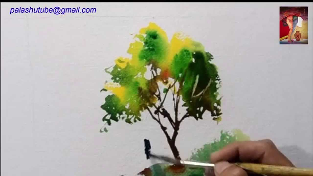 how to draw a tree by watercolor Art drawing - YouTube for Tree Drawing With Watercolor  34eri