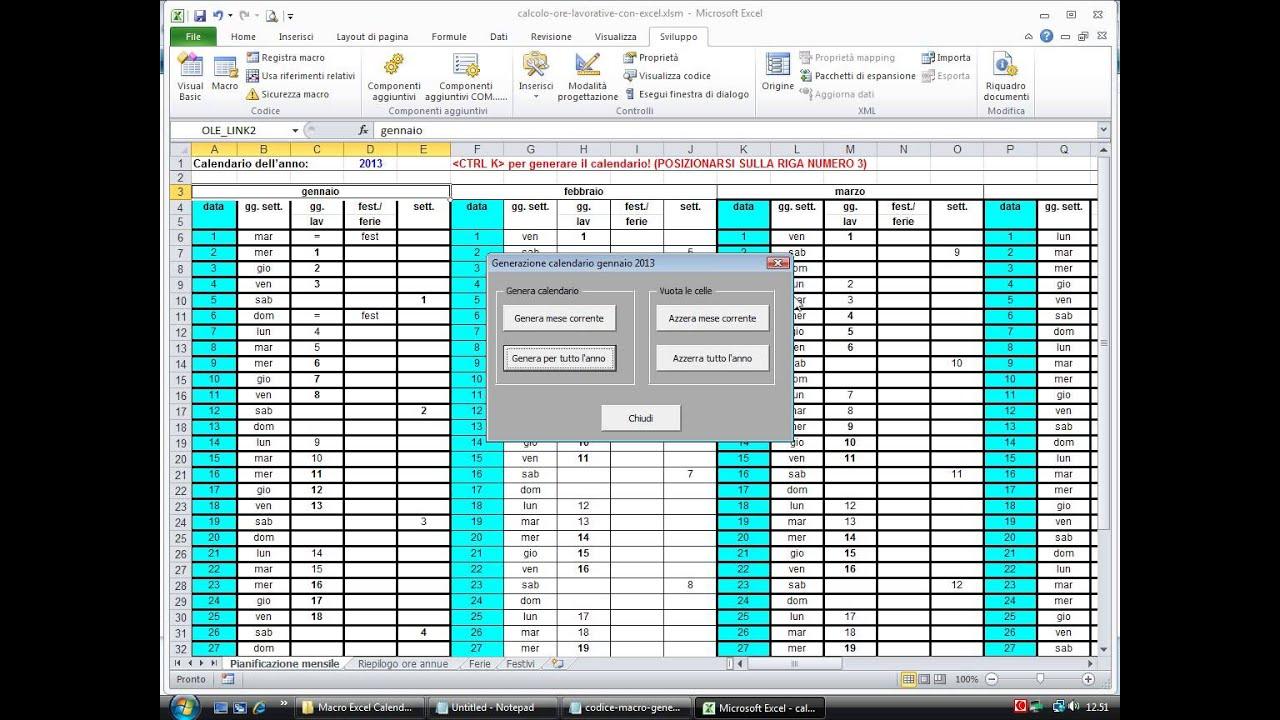 Calendario Presenze Excel.Macro Generazione Calendario Ore Lavorative Con Excel
