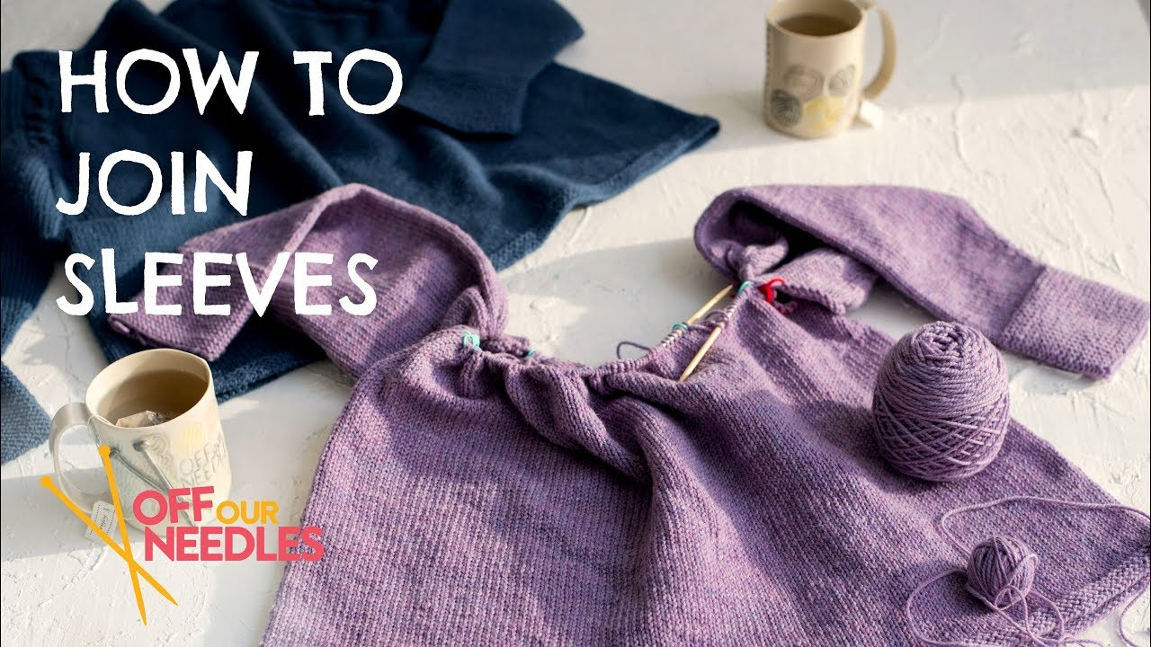 Knitting A Sweater Neckline : Joining sweater sleeves & knitting neckline short rows step 3