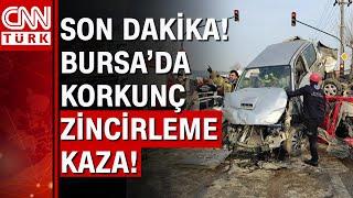 Bursa'da zincirleme kaza! Tır, otobüs ve otomobiller birbirine girdi