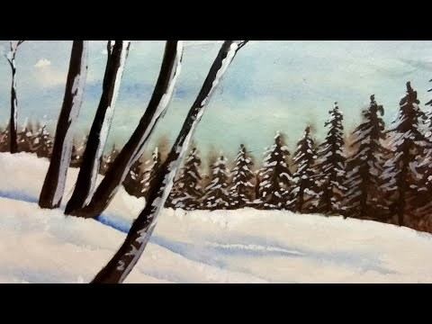 Easy landscape,water colour painting,for beginners