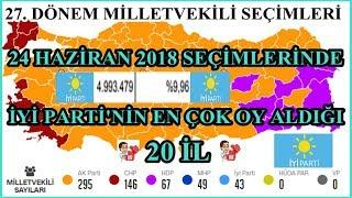 İYİ PARTİ'NİN EN ÇOK OY ALDIĞI 20 İL, 24 Haziran 2018 Milletvekili Seçimleri İyi Parti Oy Oranları