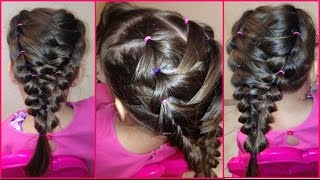 Trenza Doble con Ligas / Double Braid with Hair Bands - Peinado para niña / Hairstyle for Girl