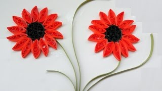 Paper Quilling Art |  How to make Beautiful Quilling Orange  dark Flower design