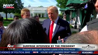 SURPRISE: President Trump Surprises Reporters With Interview Outside White House