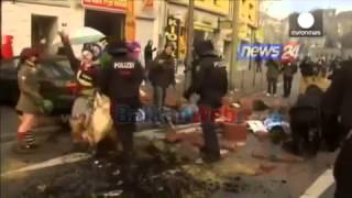 Gjermani, protestues në Frankfurt kundër hapjes së Bankës Europiane, djegin makina policie