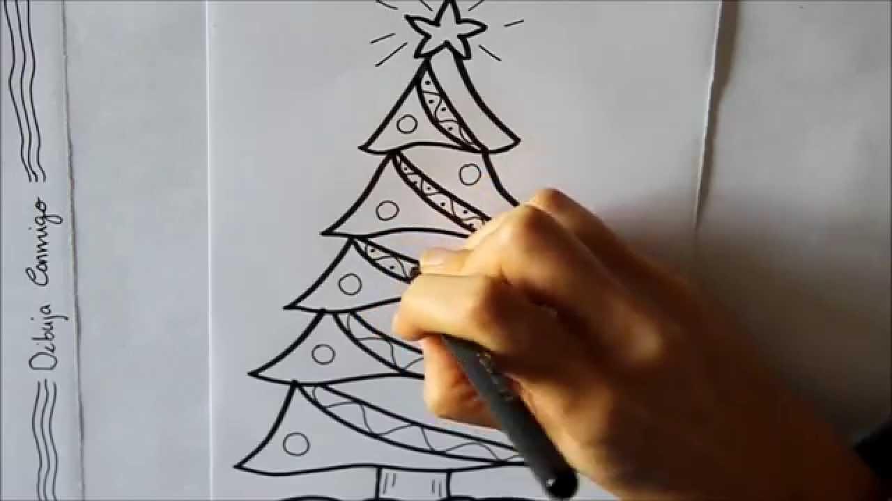 cmo dibujar un rbol de navidad decorado dibuja conmigo dibujos de navidad youtube