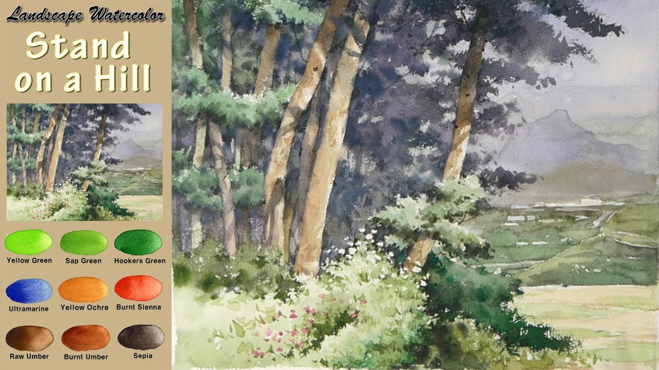 landscape watercolor- stand on a hill   wet-in-wet  arches rough  namil art