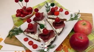 Бутерброды с французской горчицей и вяленым мясом