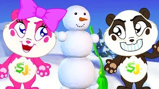 Panda Bo builds a Snowman - Fun Animation for Kids