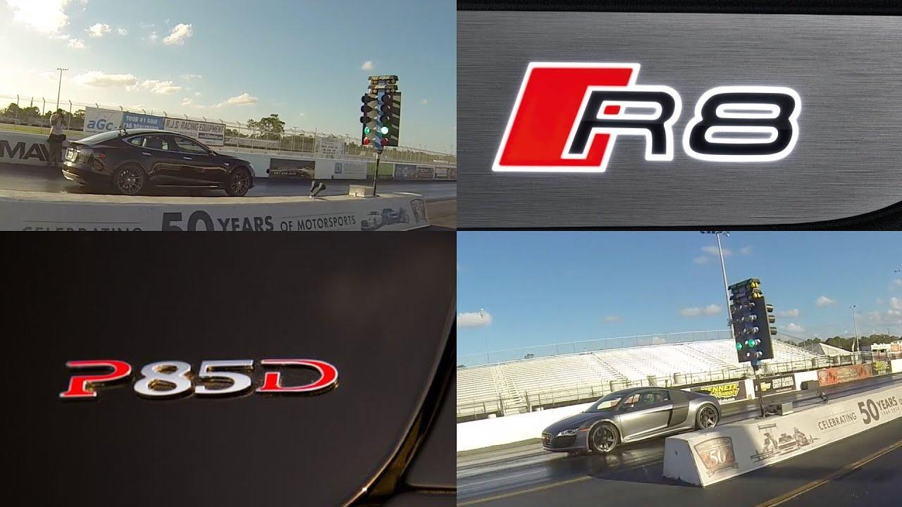 tesla model s p85d vs audi r8 5 2 v10 1 4 mile drag racing. Black Bedroom Furniture Sets. Home Design Ideas