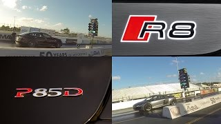 tesla model s p85d vs audi r8 5 2 v10 1 4 mile drag racing launch control