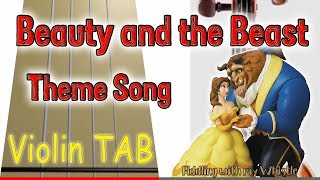 Beauty and the Beast - Movie Theme Song - Violin - Play Along Tab Tutorial