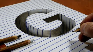 Draw a Letter G Hole on Line Paper   3D Trick Art