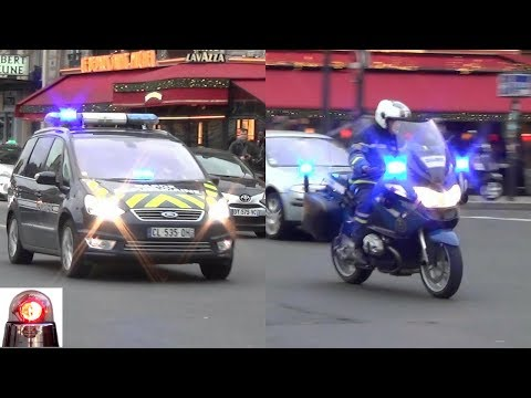 Gendarme Motorcycle Escort In Paris