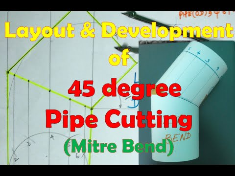 Layout and Development of 45 deg Pipe miter Cutting