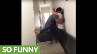 Dog gets super jealous when owners hug