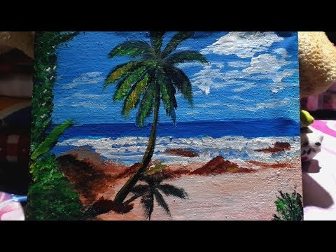 Beach acrylic painting//beautiful scenery painting.//easy painting.