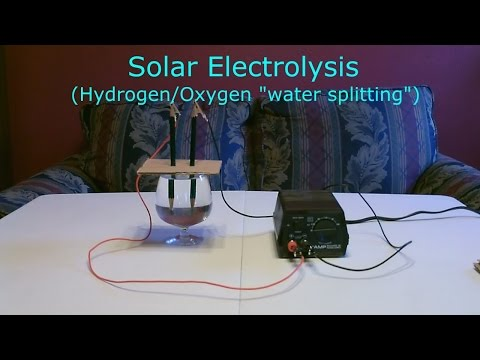 "Solar Hydrogen/Oxygen Generator DIY – Simple ""Electrolysis"" using sunlight!  (turns water into fuel)"