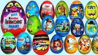 Repeat youtube video 26 Surprise eggs Kinder Maxi Disney Pixar Cars 2 Маша и Медведь Kinder Surprise Toy Story