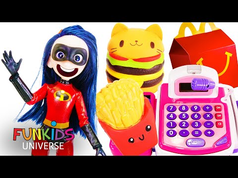 Incredibles Eats McDonalds Happy Meal with Giant Hamburger and Giant French Fries!!