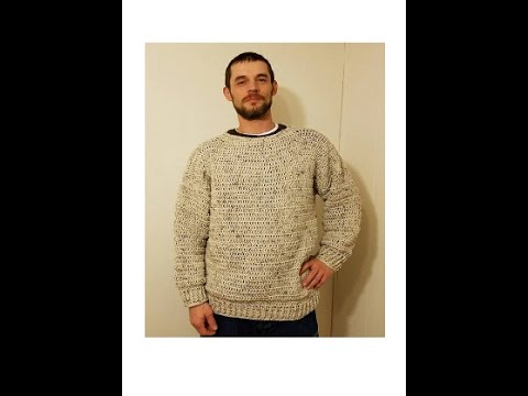 256be9dc033c CROCHET How To  Crochet Simple Mens Pullover Sweater Size L