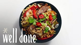 How to Make Teriyaki Cheesesteak Ramen Bowls | Recipe | Well Done