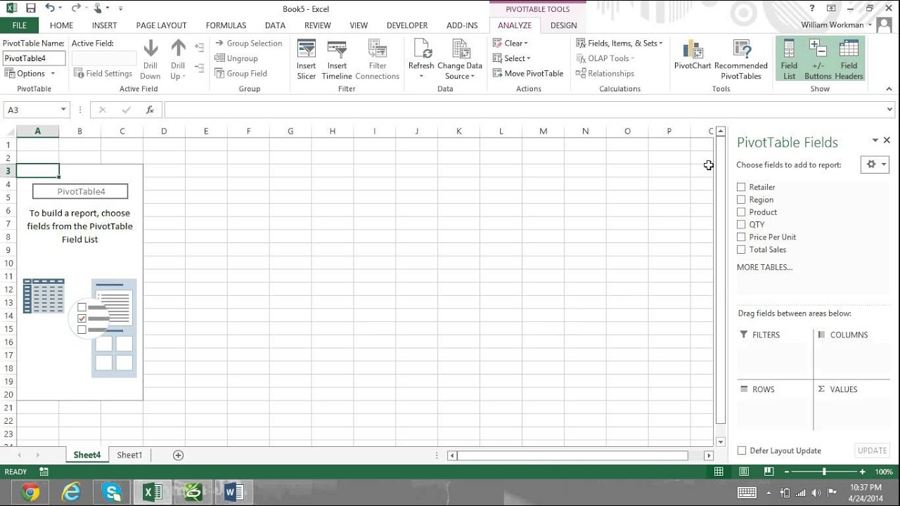 pivot table tutorial excel 2013 for beginners part 1 how to make a