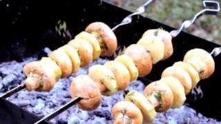 Шампиньоны в соевом соусе на мангале