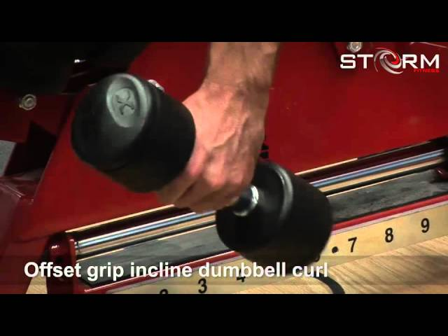 45 Offset grip incline dumbbell curl