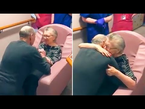 'My darling I waited so long for this' - Moment couple reunited at care home as husband moves in