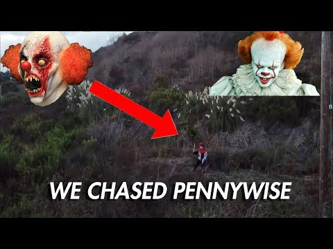 SCARY CLOWN PURSUIT FROM DRONE!! *PENNYWISE??*
