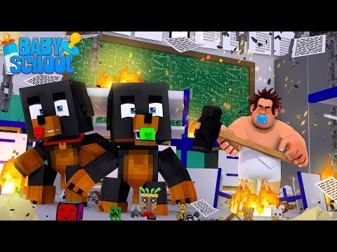 Minecraft BABY SCHOOL - BABY WRECK IT RALPH DESTROYS THE SCHOOL ON HIS FIRST DAY!!