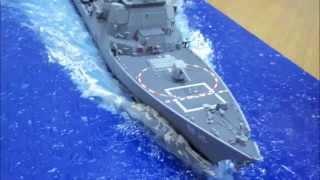 USS Momsen DDG 92 Built Trumpeter 1:350 Scale Ship Model w/ocean Diorama